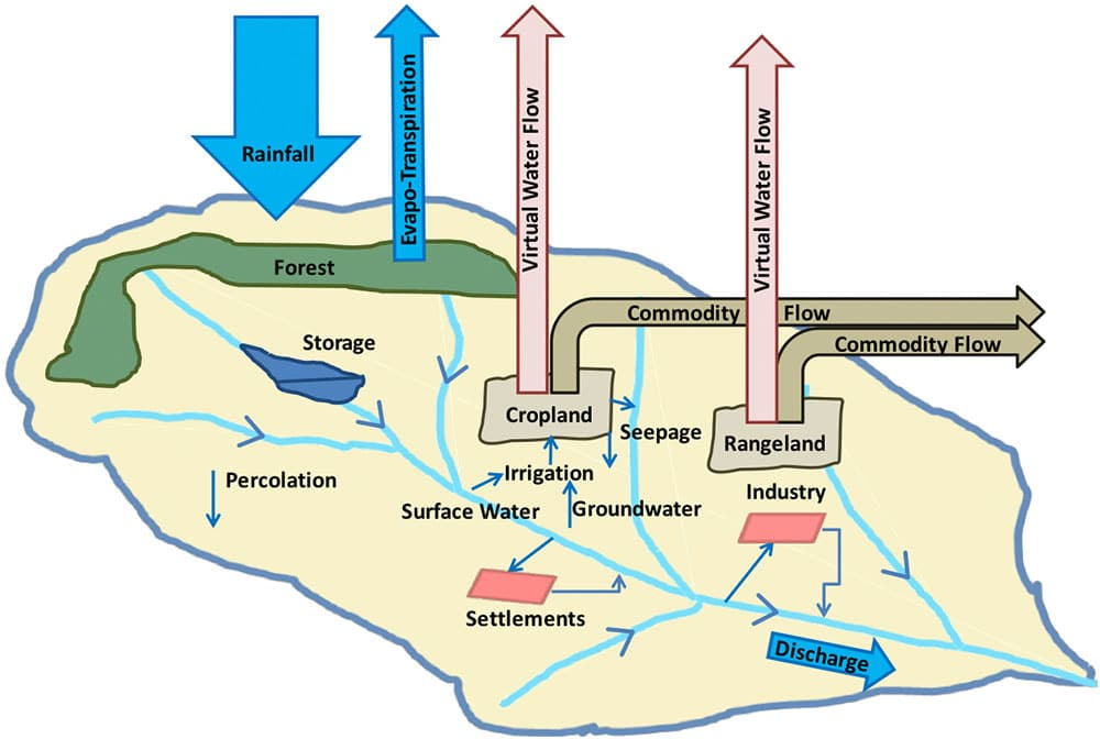 Fig.3: Considered water flows in the representative global test watersheds (see Fig.2) which are considered in the analysis of competing water demands